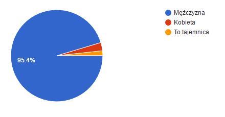 Płeć -- 95,4% ankietowanych to mężczyźni